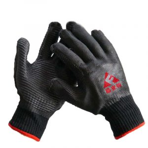 Black yarn soft rubber protective dipped gloves (2)