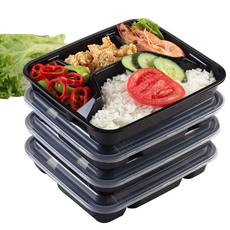 Disposable Colorful Plastic Five Grid Fast Food Lunch Box (1)