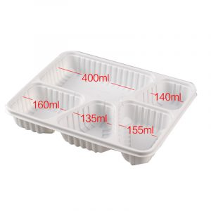 Disposable Colorful Plastic Five Grid Fast Food Lunch Box (6)