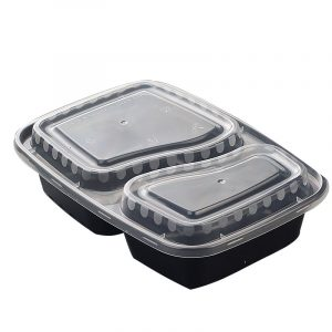 Disposable Plastic Two Compartment Lunch Box (5)
