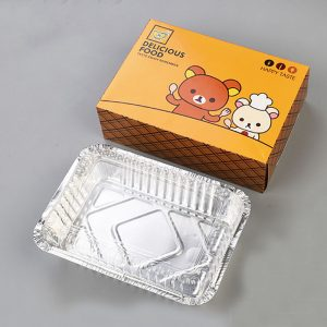 Disposable aluminum foil insulation takeout cassette with cover carton set (2)