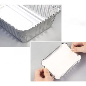 Disposable aluminum foil lunch box barbecue packaging box with lid (3)