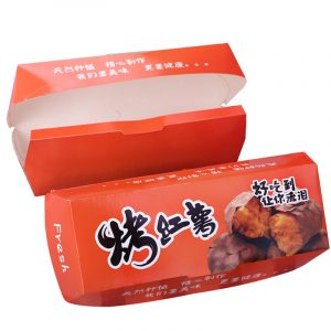 Disposable baked sweet potato hot dog box