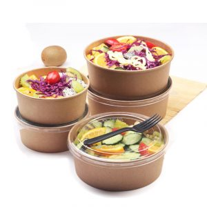 Disposable transparent cover kraft paper bowl salad box (3)