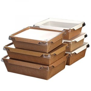 Disposable transparent cover kraft paper salad box (2)