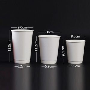 Disposable white double-layer paper cups (2)