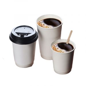 Disposable white double-layer paper cups (5)