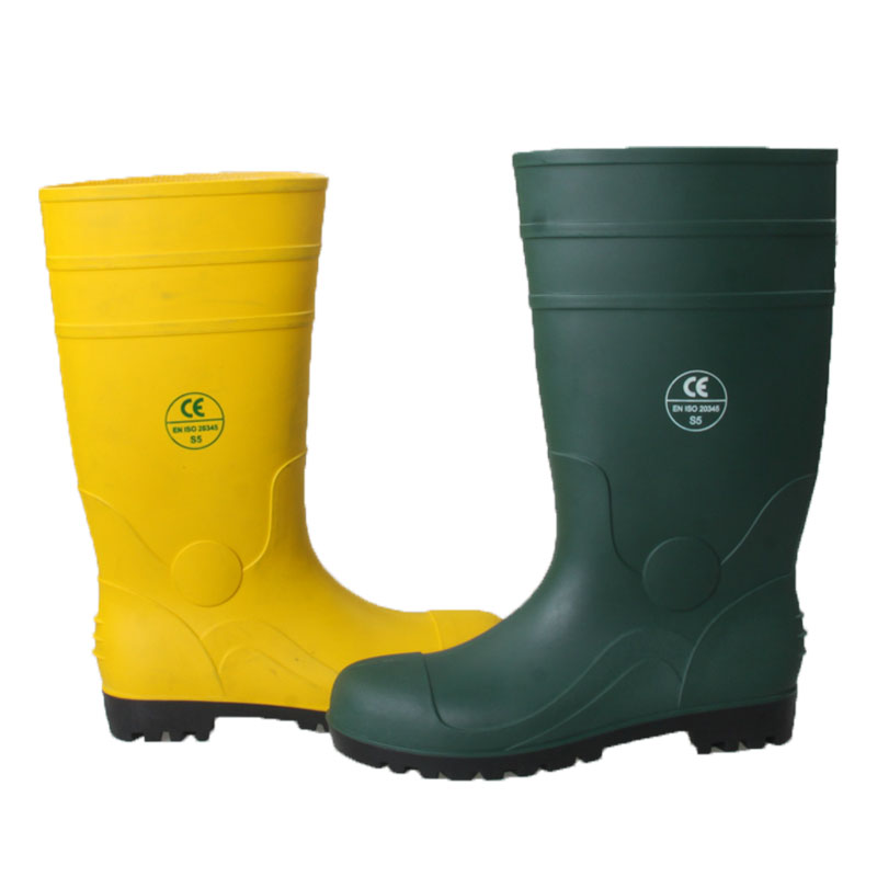 Green head-proof anti-smashing safety boots (2)