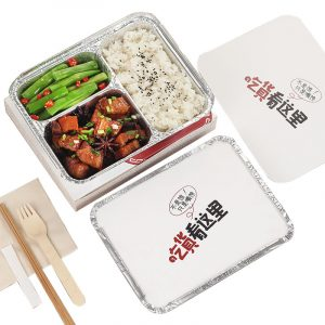 Customizable printing Disposable tin foil aluminum foil compartment fast food box (3)