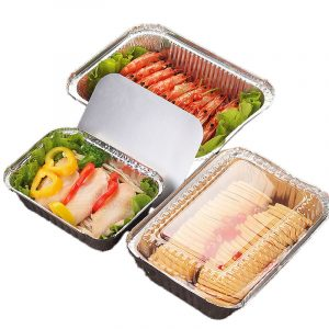 Disposable aluminum foil lunch box barbecue packaging box with lid (1)