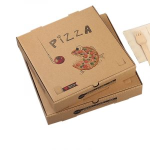 Disposable kraft paper corrugated pizza box (2)