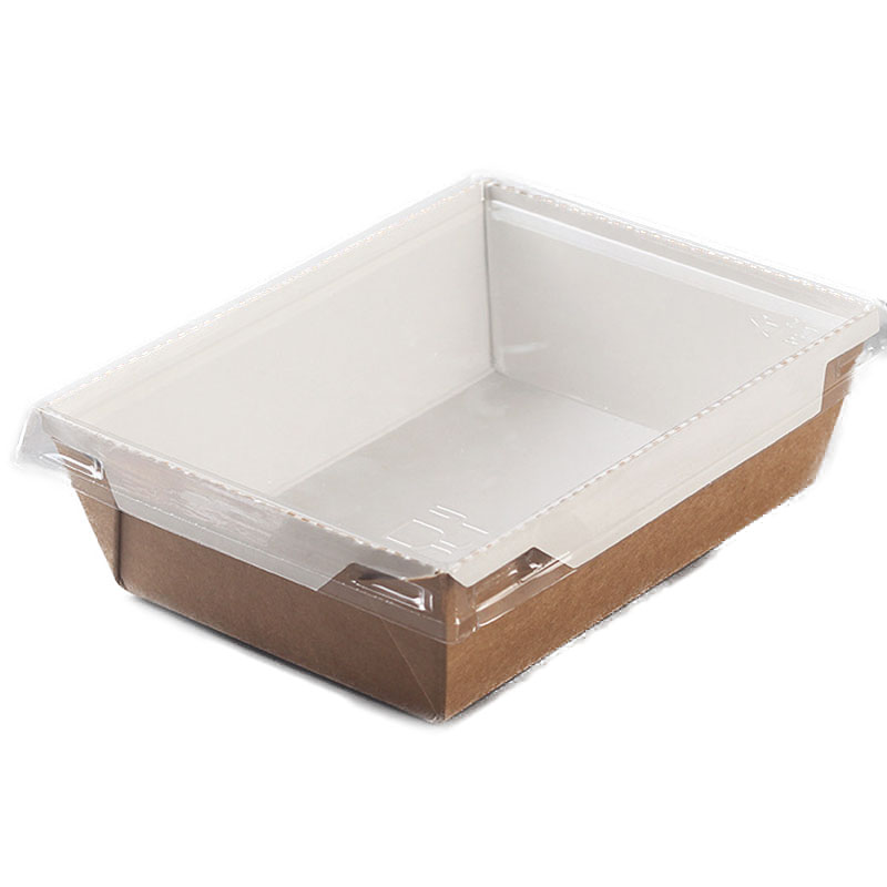 Disposable kraft paper sushi packaging box with lid 1