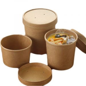Disposable thicken round kraft paper packing bowl (1)