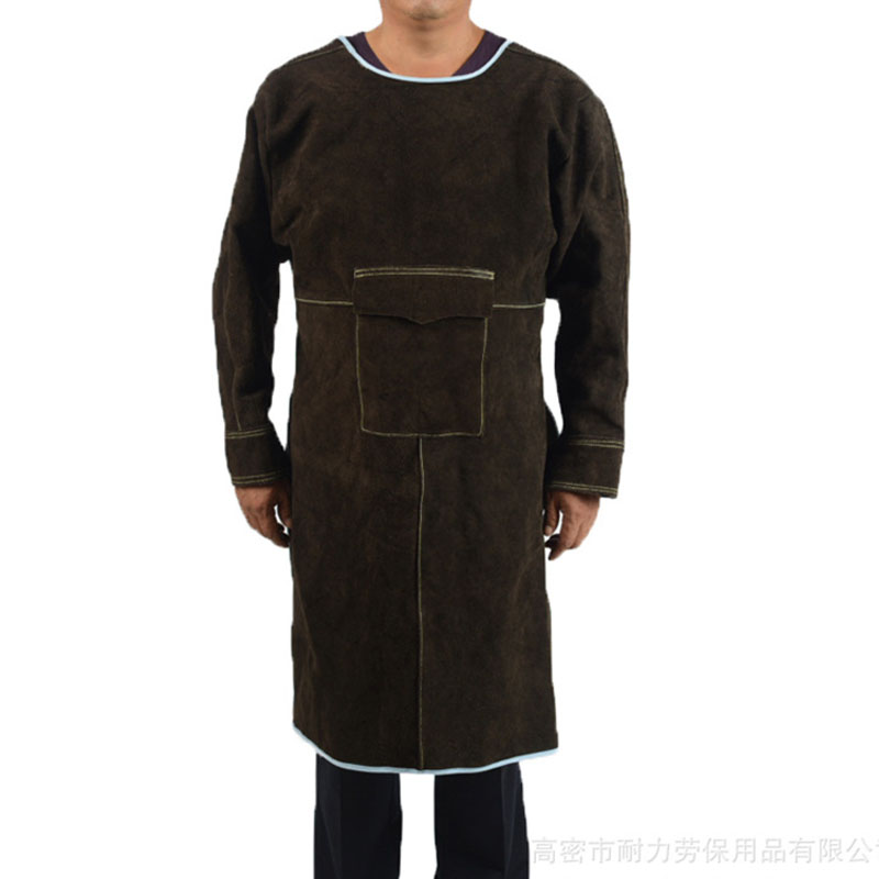 Low Collar Long Sleeve Leather Workwear Overalls (3)